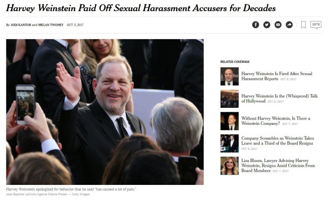 Les réactions — Harvey Weinstein
