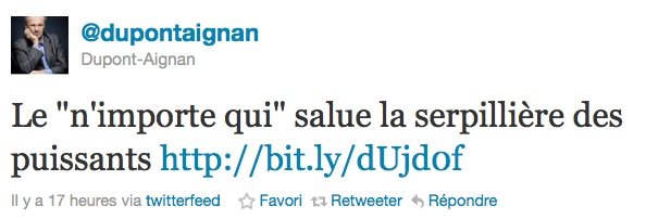 Twitter, Dupont Aignan