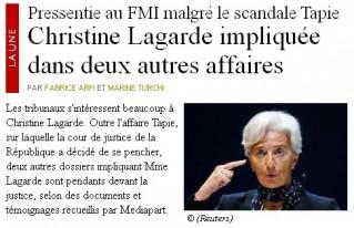 Lagarde mise en cause dans 2 nouvelles affaires - Mediapart - 23/05/11