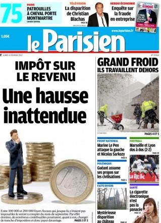 Couverture Parisien 6 février 2012