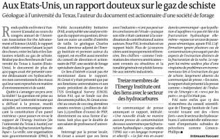 Gaz de schiste - Le Monde - 26 juillet 2012