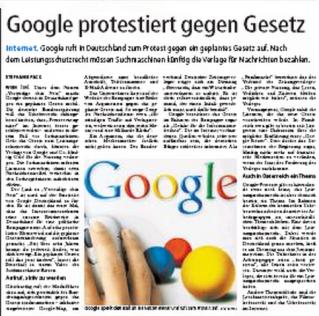 Leistungsschutz, Google