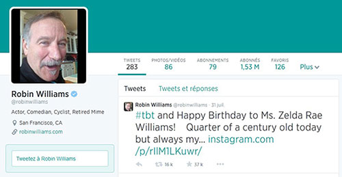 Compte Twitter de Robin Williams