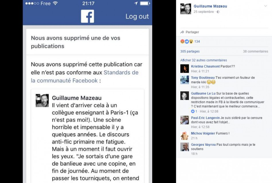 Violences polici res facebook republie un post censur - Porter plainte pour violence physique ...