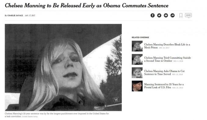 Obama commue la peine de Chelsea Manning qui sera libérée en mai