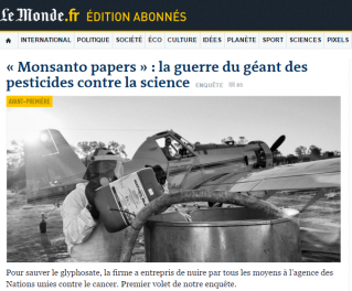 """Résultat de recherche d'images pour """"monsanto papers le monde"""""""