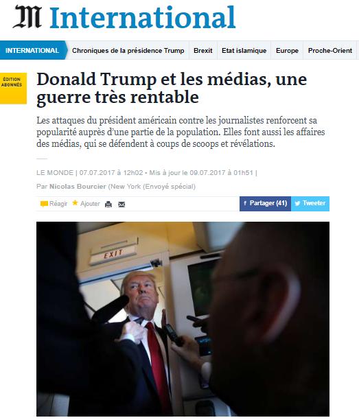 Le Monde Trump guerre rentable