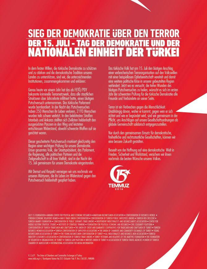 Une pleine page de publicit la gloire d erdogan dans un for Chambre de commerce francaise en turquie