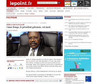 Article du point annonçant la mort d'Omar Bongo - 8 juin 2009